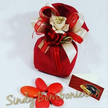 BOMBONIERE matrimonio rosso laurea battesimo nascita SACCHETTINO in iuta rosso matrimonio nastri af6d46