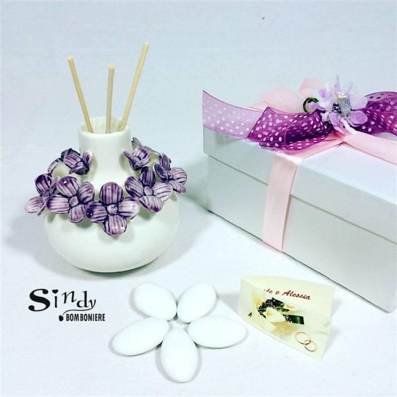 Bomboniera Matrimonio Azzurro : Bomboniera confezionata vasetto profumatore con fiori