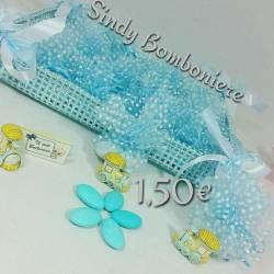 Ricordini nascita battesimo e compleanno trenino celeste sacchetto confezionata 1,50€ CA275