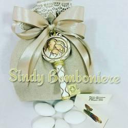 Sacchetti bomboniere con chiavi sacra famiglia confezione inclusa