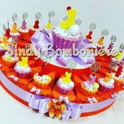 TORTA BOMBONIERA numero uno cupcake CLIP 1° primo COMPLEANNO bimba
