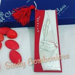 Fermalibro argento con pelle rossa
