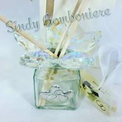 BOMBONIERE profumatore cristallo matrimonio con placca cuori argento
