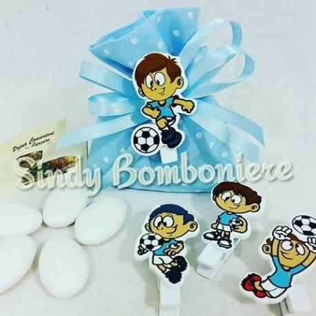 Segnaposto tema calcio con sacchetto per confetti Crispo