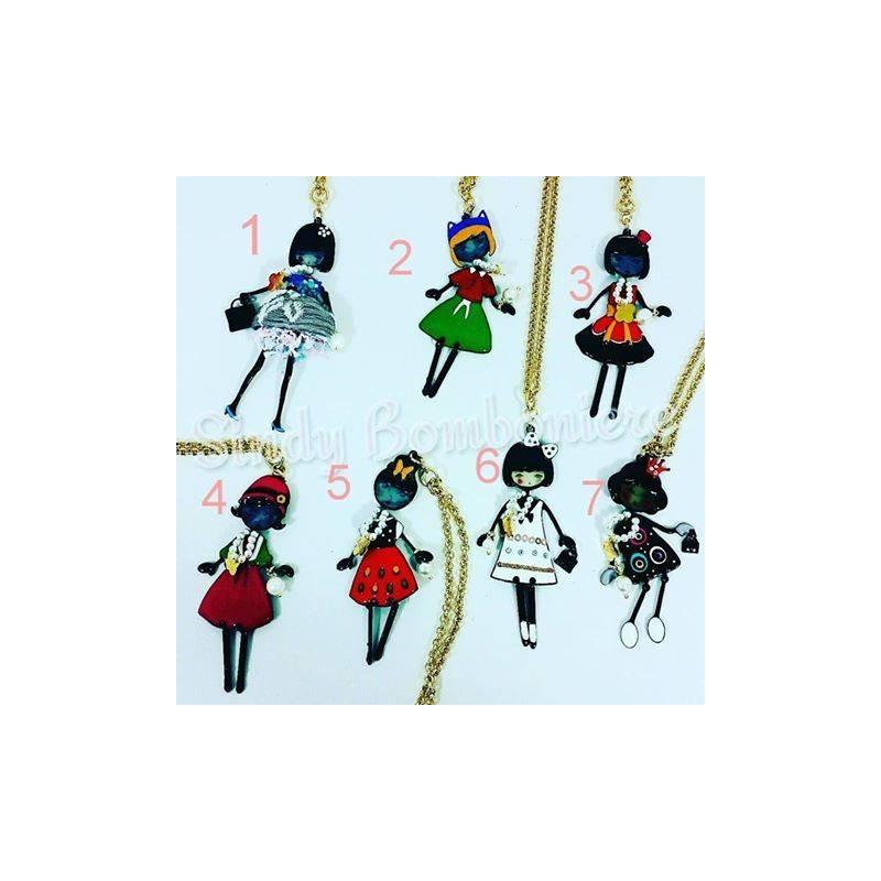 Popolare Collane Le Carose Flappers idee bijoux per regali con bamboline MP98