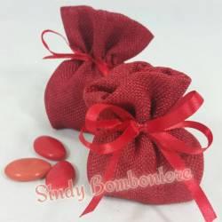 Baratti LAUREA sacchetti fai date tessuto cotone yuta ROSSO