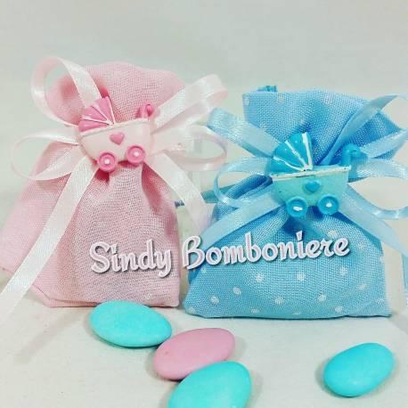Sacchetti confetti nascita bimba/o carrozzina celeste o rosa