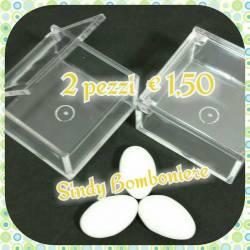 scatoline portaconfetti per confetti FAI DA TE bomboniere 2 pezzi SCRIGNO PLEXIGLASS contenitore confetti rigido trasparente