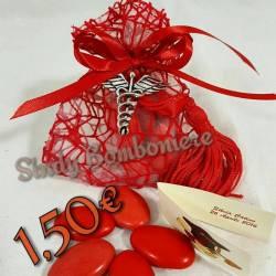 Sacchetti bomboniere laurea con caduceo nappina rossa confetti rossi