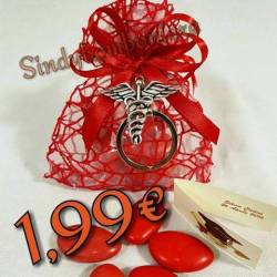 Sacchetti bomboniere laurea FARMACIA caduceo portachiavi confetti rossi