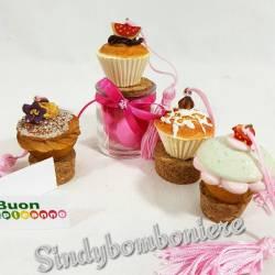 Barattolo bomboniera cupcake con nappina rosa originali bomboniere on line