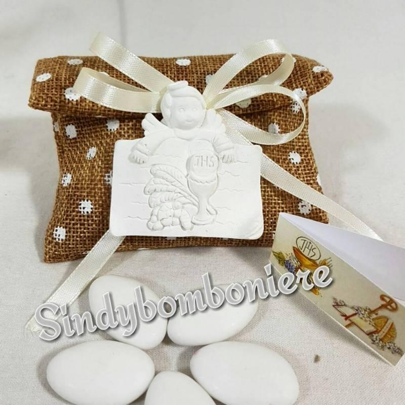 Favori Sacchetti portaconfetti bomboniere comunione angelo gessetto profumato XD01