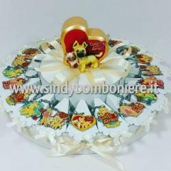 Torta bomboniera animaletti portachiavi cresima comunione confetti e bigliettino