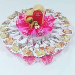 Torta bomboniera animaletti portachiavi battesimo compleanno confetti e bigliettino