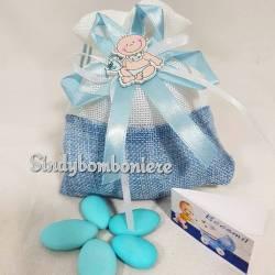 Sacchettini nascita con confetti celesti bimbo con biberon e bigliettino