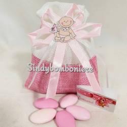 Sacchettini nascita con confetti rosa bimba con biberon e bigliettino