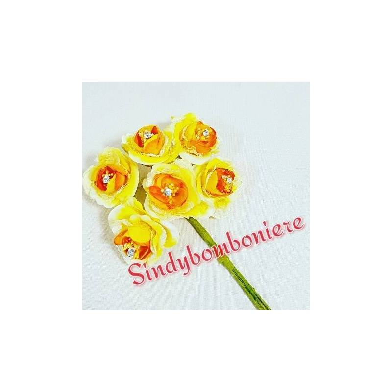 Bomboniere fai da te fiori rose gialle con strass per - Decorazioni gialle ...