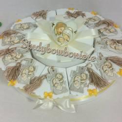 Torta bomboniera battesimo croce con nappina icona sacra famiglia con glitter