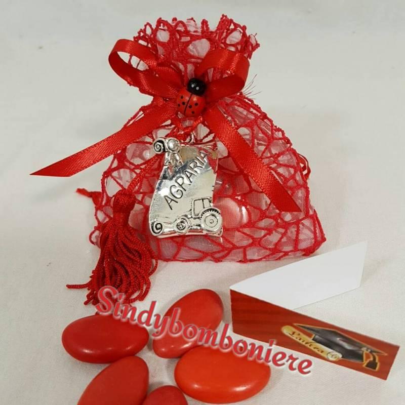 Favorito bomboniere laurea agraria con sacchetto rosso portaconfetti  WH54