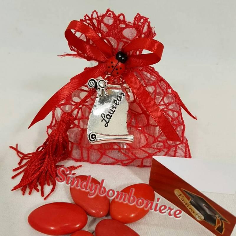 Connu Bomboniere laurea sacchetti rossi con pendente ciondolo confetti  SA96