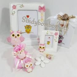 Bomboniere solidali Cuorematto cornice sacchetto gufetti rosa femminuccia