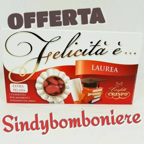 Confetti rossi alla mandorla Crispo offerta online 350pezzi ideali per bomboniere laurea