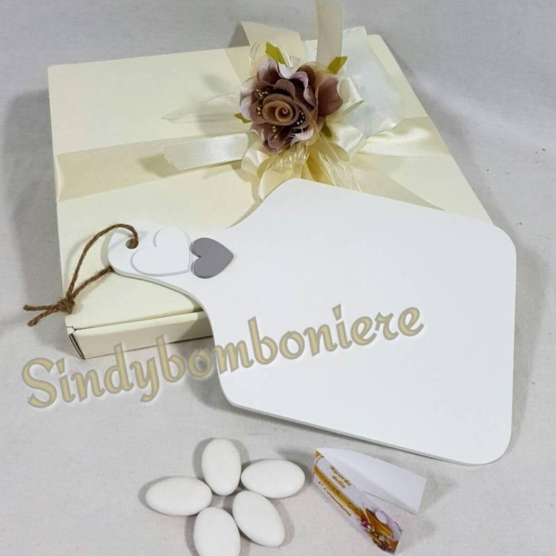 spesso Tagliere cuori shabby bomboniere per matrimonio utili ed originali SG25