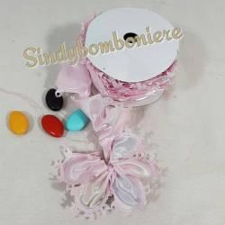Nastro raso a coccarda a petali per inserire i confetti formando un fiore