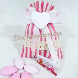 Bomboniere nascita bimba sacchetto portaconfetti gessetto profumato cuore rosa