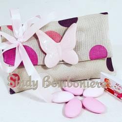 SACCHETTI bomboniere calamita farfalla in ceramica rosa confetti e confezione inclusa nel prezzo