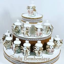 Vasetti con tappo a cuore ceramica bianco e farfalla pendente bomboniere shabby