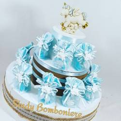 TORTA BOMBONIERE 20 SACCHETTINI  bimbo unicorno sacchettini plexiglass con confetti battesimo nascita