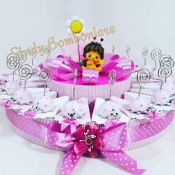 Torta bomboniera coccinella clip rosa e topper per nascita, battesimo, compleanno, prima comunione e cresima