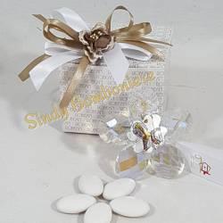 BOMBONIERA in argento con CRISTALLO a forma di fiore cresima