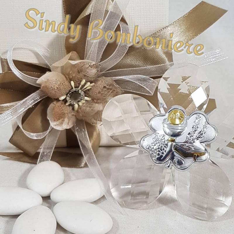 Conosciuto Bomboniera CRISTALLO con placca in argento a forma di fiore per  DV44