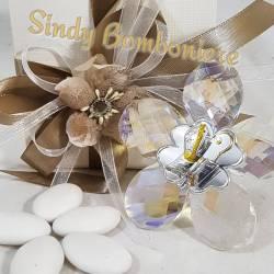 Bomboniere argento Cresima e comunione insieme su croce di cristallo