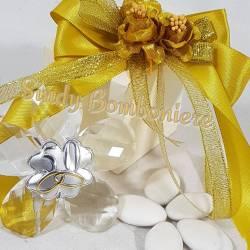 Bomboniera CRISTALLO con placca in argento a forma di foglia per nozze d'oro