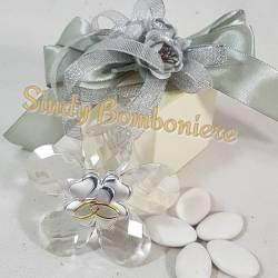 Bomboniera CRISTALLO con placca in argento a forma di foglia per nozze d'argento