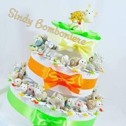TORTA BOMBONIERE ANIMALETTI colorati gattino compleanno battesimo nascita