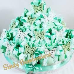 TORTA BOMBONIERA sacchettini FARFALLA ceramica Grottaglie verde eventi nascita comunione