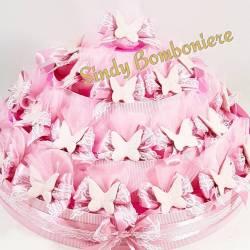 TORTA BOMBONIERA SACCHETTINI farfalla rosa bimba battesimo nascita
