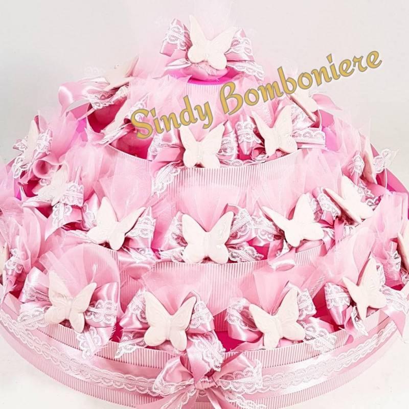 Ben noto TORTA BOMBONIERA SACCHETTINI farfalla rosa bimba 1 compleanno  TA48