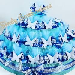 TORTA BOMBONIERE sacchettino farfalla ceramica celeste compleanno battesimo