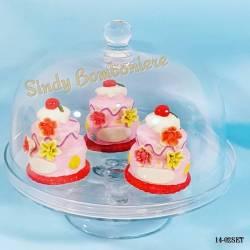 ALZATINA CENTROTAVOLA CONTENITORE CUP CAKE in vetro per eventi