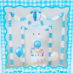 FESTONE NASCITA compleanno battesimo bimbo festeggiamenti ADDOBBO azzurro