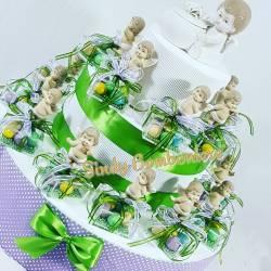 TORTA BOMBONIERE plexiglass bimbo angioletto vasetto porcellana battesimo nascita eventi