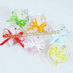 BOMBONIERE PLEXIGLASS fiore cristallo confetti strass colori