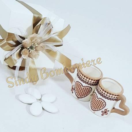 Bomboniere Ceramica Matrimonio.Bomboniera Ceramica Coppia Tazze Cuore Sposi Matrimonio Confezione