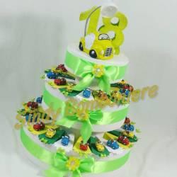 Torta BOMBONIERA auto 500 cabrio MACCHININA portachiavi per compleanno 18 DICIOTTESIMO 016026