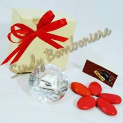 BOMBONIERA LAUREA cristallo swarosky placchetta argentata tocco CONFEZIONE